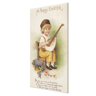 A Happy EasterBoy with Egg Shell Guitar Canvas Print