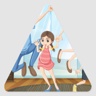 A happy family triangle sticker