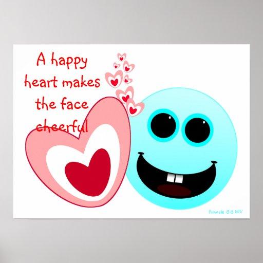 A Happy Heart - Proverbs 15:13 NIV Poster