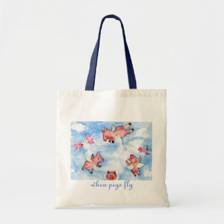 a Happy Herd of Flying Pigs Tote Bag