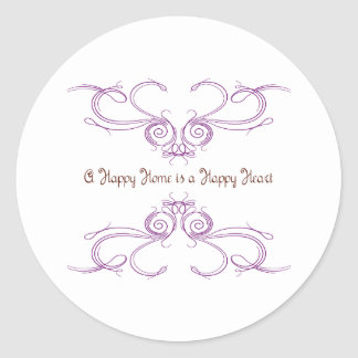 A Happy Home Is A Happy Heart Round Stickers