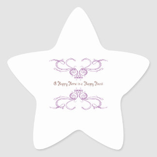 A Happy Home Is A Happy Heart Star Sticker