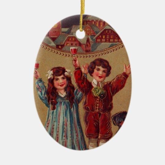 A Happy New Year Victorian Children Christmas Ornament