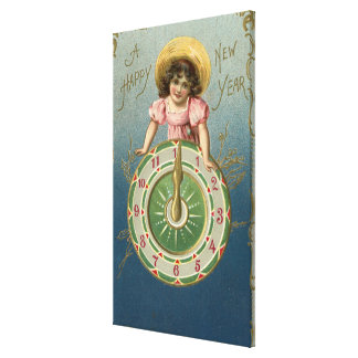 A Happy New YearGirl atop a Clock Canvas Print