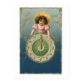 A Happy New YearGirl atop a Clock Postcard