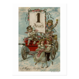 A Happy New YearKids Around a Red Wagon Postcard