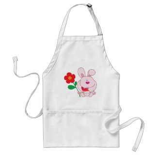 A Happy Pink Bunny holds flower Standard Apron