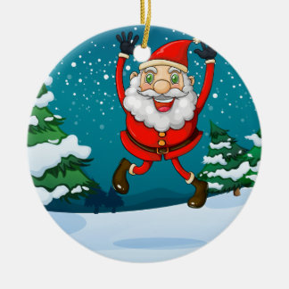 A happy Santa near the pine trees Christmas Ornament