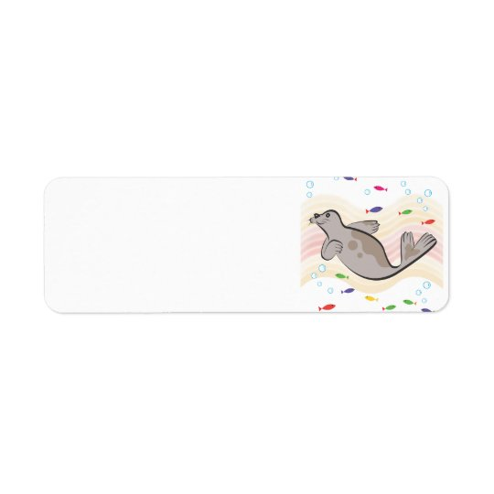 A  happy sea lion return address label