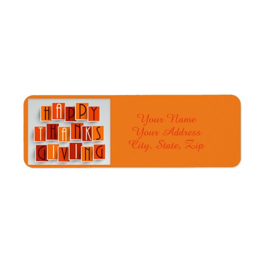 A Happy Thanksgiving Return Address Label