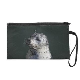 A harbor seal wristlet purse