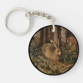 A Hare in the Forest Single-Sided Round Acrylic Key Ring