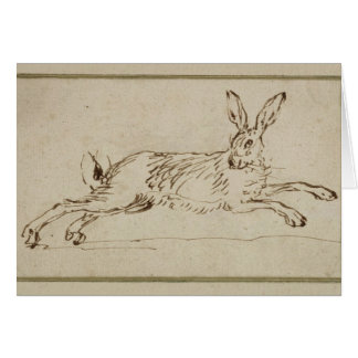A Hare Running, With Ears Pricked (pen & ink on pa Greeting Card