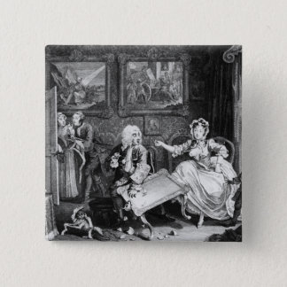 A Harlot's Progress, plate II, Quarrels 15 Cm Square Badge