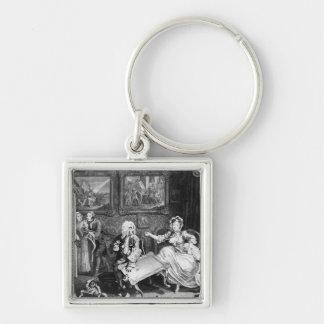 A Harlot's Progress, plate II, Quarrels Silver-Colored Square Key Ring