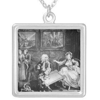 A Harlot's Progress, plate II, Quarrels Silver Plated Necklace