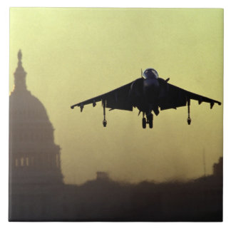 A Harrier jet landing on the Mall at dawn with Large Square Tile