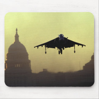 A Harrier jet landing on the Mall at dawn with Mouse Mat