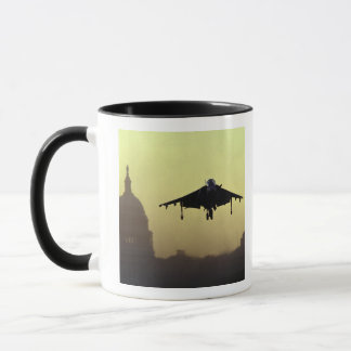 A Harrier jet landing on the Mall at dawn with Mug