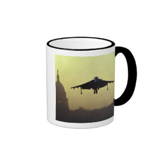 A Harrier jet landing on the Mall at dawn with Coffee Mug