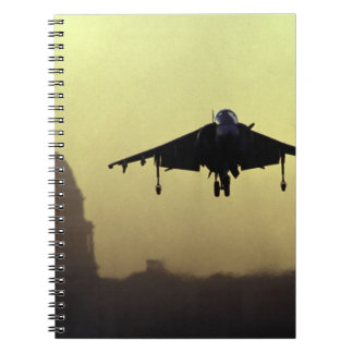 A Harrier jet landing on the Mall at dawn with Notebook