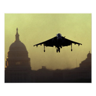 A Harrier jet landing on the Mall at dawn with Poster