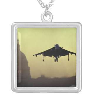 A Harrier jet landing on the Mall at dawn with Square Pendant Necklace
