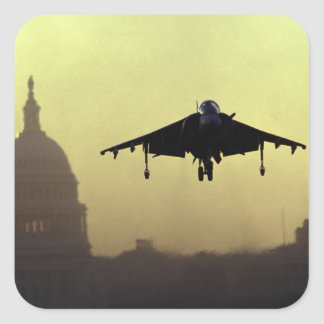 A Harrier jet landing on the Mall at dawn with Square Sticker