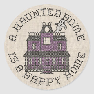 A Haunted Home is a Happy Home Cross Stich Round Sticker