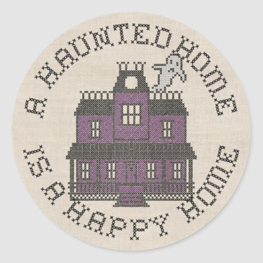 A Haunted Home is a Happy Home Cross Stich Sticker