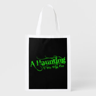 A Haunting We Will Go LLC Green Logo Black Back Reusable Grocery Bag
