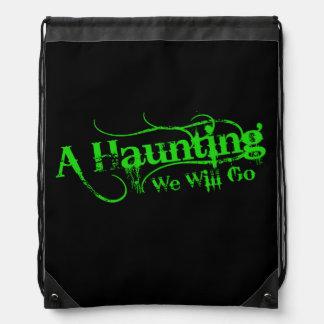 A Haunting We Will Go LLC Green Logo Drawstring Bag