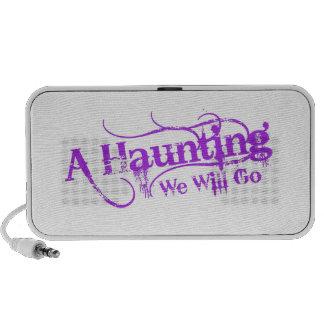 A Haunting We Will Go LLC Purple Logo Speakers
