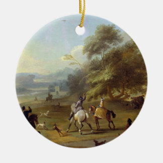 A Hawking Party, c.1690 (oil on canvas) Christmas Ornament
