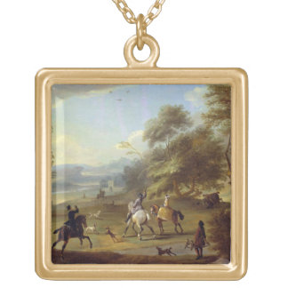 A Hawking Party, c.1690 (oil on canvas) Square Pendant Necklace