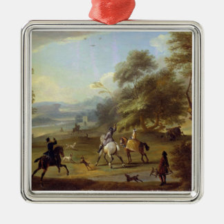 A Hawking Party, c.1690 (oil on canvas) Silver-Colored Square Decoration