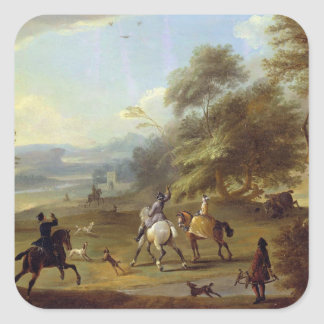 A Hawking Party, c.1690 (oil on canvas) Square Sticker