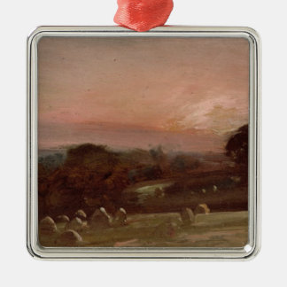 A Hayfield near East Bergholt at Sunset Christmas Ornament