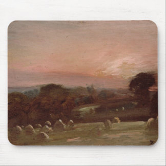 A Hayfield near East Bergholt at Sunset Mouse Pad
