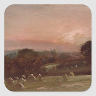 A Hayfield near East Bergholt at Sunset Square Sticker