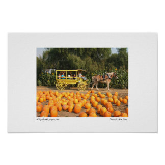 A hayride at the pumpkin patch poster