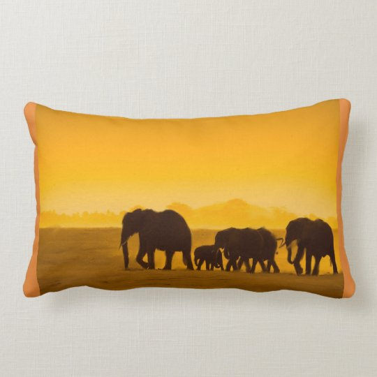 A Heard Of Elephants Lumbar Cushion
