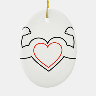 A heart with flexing muscles- Healthy heart Ceramic Oval Decoration