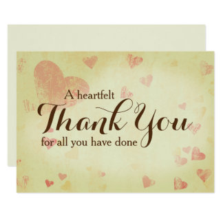 "A Heartfelt Thank You Card 5"" x 7"", Customizable 13 Cm X 18 Cm Invitation Card"