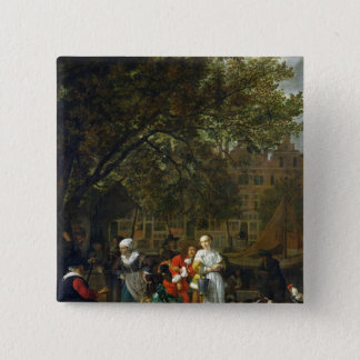A Herb Market in Amsterdam 15 Cm Square Badge