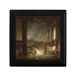 A Hermit Praying in the Ruins of a Roman Temple Small Square Gift Box