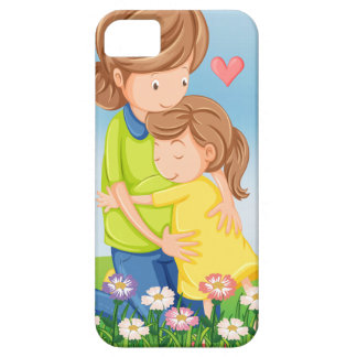 A hilltop with a mother comforting her child iPhone 5 case