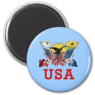 A History of American Flags on a Tshirt 6 Cm Round Magnet
