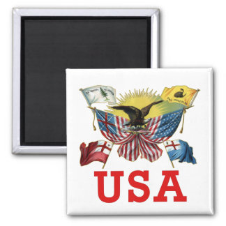 A History of American Flags on a Tshirt Square Magnet
