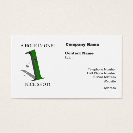 A Hole In One Golf Ball Business Card